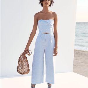 Zara Pinstripe Cutout Strapless Jumpsuit Small